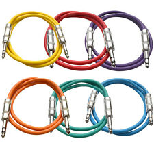 "SEISMIC AUDIO 6 PACK Colored 1/4"" TRS 2' Patch Cables"