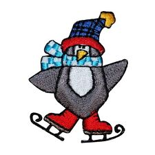 ID 8200B Ice Skate Penguin Winter Christmas Embroidered Iron On Applique Patch
