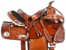 USED 15 WESTERN BARREL RACING PLEASURE TRAIL HORSE LEATHER SADDLE TACK SET