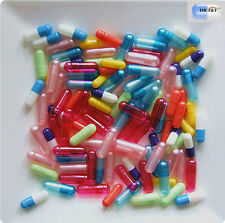 100 assorted size and colour Empty gelatine gelatin Capsules size00,0,1,2,3,4