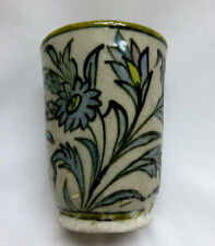 Vintage Turkish Hand Painted Blue Floral Fritware Iznik Pottery Cup / Vase