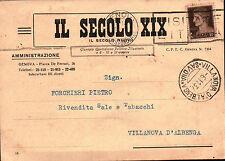 """CARTOLINA DEL GIORNALE """" IL SECOLO XIX """" 1937 PER VILLANOVA D'ALBENGA  12-64"""