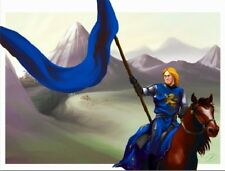 """*Postcard-""""Young Knight...on Horse & Waving Blue Flag""""  ...Classic-"""