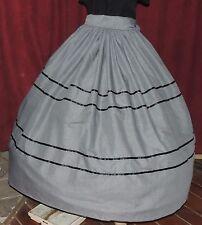 CIVIL WAR DICKENS PIONEER VICTORIAN Gown Black Gingham Chck Skirt & Sash Set