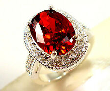 Gorgeous Woman Oval Cut 2.95ct Garnet 925 Silver Wedding Party Ring Size 8