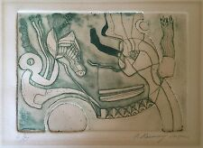 VINTAGE ABSTRACT MODERNIST LITHOGRAPH MID CENTURY MODERN RETRO ART WALL HANGING