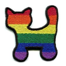 "RAINBOW KITTY CAT IRON ON PATCH 2"" Gay Lesbian LGBT Pride Embroidered Flag NEW"