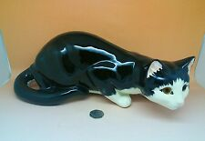 Just Cats & Co. Black Felix Hand Painted Pottery Cat 15 inch long Extra Large!