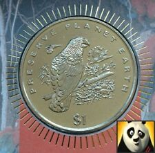 1996 LIBERIA $1 OBE DOLLAR COIN PRESERVE PLANET WWF PARROT FIRST DAY COVER