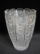 "ANTIQUE QUEEN LACE BOHEMIAN CZECH HAND CUT GLASS CRYSTAL VASE, 7 1/2"" T X 5"" D"