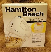 Hand Mixer Hamilton Beach Electric Beaters Whisk White 6 Speed Snap On Case New