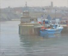 "ORIGINAL MICHAEL RICHARDSON OIL ""Misty Morning, Newquay"" Cornwall Coast PAINTING"