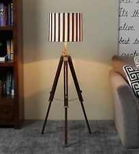 Vintage industrial DESIGNER Chrome Nautical SPOT LIGHT Tripod Floor LAMP
