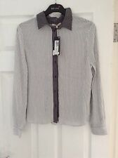 BNWT M&S Collection Black & White Stripe Blouse Top Size 8 RRP £29.50
