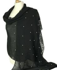 New Women Ladies Soft Pearl Beaded Large Scarf Pashmina Neckerchief  Hijab