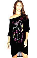 NEW NWT$125 LAUREN MOSHI 80's FASHION PRINT OVERSIZED DRESS BLACK MULTICOLOR M-L