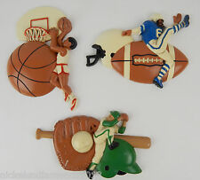 BURWOOD VINTAGE PLASTIC SPORTS HANGING WALL PLAQUES KIDS ROOM BASEBALL FOOTBALL