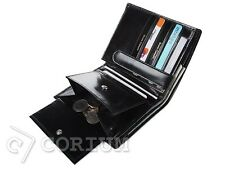 MENS REAL LEATHER BIFOLD BLACK WALLET CREDIT CARD HOLDER BRUNO CASSANI