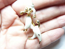 Vintage gold tone metal white enamel French Poodle dog Brooch