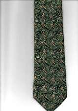 MOODYS  100% WOVEN SILK TIE SWIRLING PAISLEY PHEASANTS PATN GREEN COLOUR UK MADE