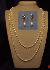 "Two Fresh-water pearl necklaces (18"" & 24"") + 1 pair matching earrings"