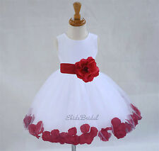 White Flower Girl Dresses Bridesmaid Formal Floral Petals *Free USA Ship* 306s11