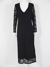 ASOS Curve NWT Long Sleeve V Neck Lace Maxi Dress Womens 20 Black FLAWLESS $125
