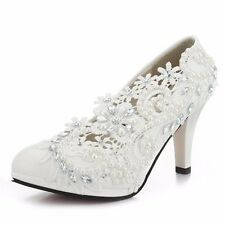 Wedding Pearl White Ivory Lace Party Bridal Bridesmaid Flat High Low Heels shoes