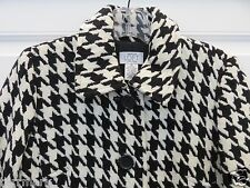 ANN TAYLOR LOFT PETITES BLACK OFF WHITE HOUNDSTOOTH LINED WOOL SPRING COAT 0 P