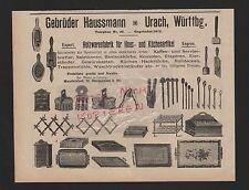 URACH, Werbung 1912, Gebrüder Haussmann Holzwaren-Fabrik