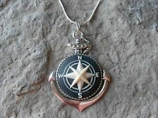 STUNNING COMPASS CAMEO PENDANT NECKLACE - QUALITY- .925 PLATED CHAIN NAVAL