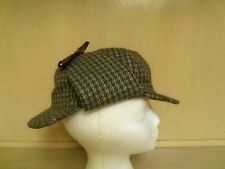 Sherlock Holmes Hat Autohat Mixed Fibres Made in Scotland Size 7 Deerstalker