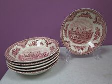 """SET OF 6 JOHNSON BROTHERS PINK RED OLD BRITAIN CASTLES 5 1/8"""" BERRY BOWLS"""