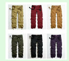 Men's Casual Outdoor Military Army Green Cargo Pocket Pants Trousers UK Size JW9