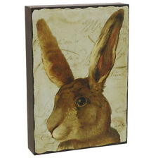 """RAZ Imports 10"""" Spring/Easter Brown Bunny Rabbit Plaque~Picture/Country/French"""