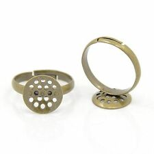 10pcs Antique Bronze Adjustable Brass Sieve Ring Base Blank Setting Cabochon DIY