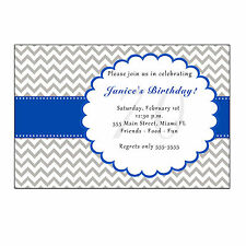 30 Chevron Invitation Cards Adult Birthday Party Grey Blue Personalized
