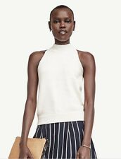 NWT Ann Taylor Sleeveless Knit  Halter Top  Top PM $60  Winter White