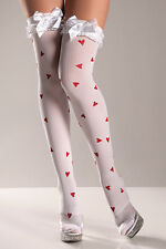BW-511 Sexy White Thigh High Stockings w/ Red Hearts Wedding Bridal Honeymoon