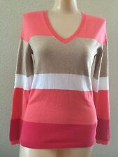 NWT Tommy Hilfiger women's Pink grey V Neck Long Sleeves sweater  -XS