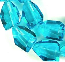 19x14mm Faceted Capri Blue Crystal Nugget Beads 14.5""