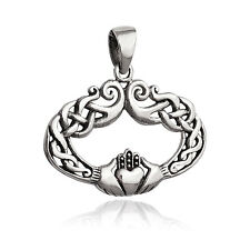 Celtic Knot Claddagh Pendant - 925 Sterling Silver - Irish Friendship Oval NEW