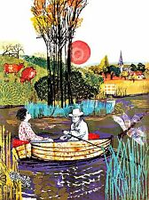 PAINTING SURREAL COLLAGE MAN WOMAN LAKE BOAT ART POSTER PRINT LV2894