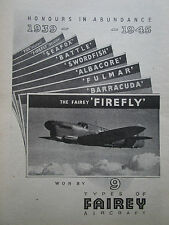 6/1945 PUB FAIREY AVIATION FIREFLY FULMAR BARRACUDA ALBACORE SWORDFISH SEAFOX AD
