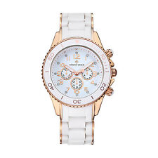 Timothy Stone White and Rose Gold AMBER SILICONE Womens Fashion Watch