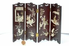 Dollhouse Miniature Chinese Screen in Hand Carved Wood and Mother of Pearl Inlay