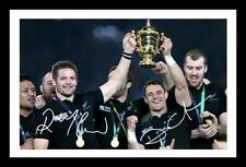 RICHIE MCCAW & DAN CARTER - ALL BLACKS SIGNED & FRAMED PP POSTER PHOTO