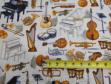 Perfect Pitch Piano Guitars Music Instruments on  Ivory BY YDS RJR Cotton Fabric