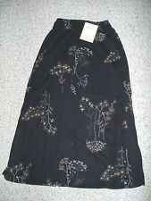 NEW~NWT~ KATHIE LEE Floral Long Lined Chiffon Skirt~Black/Blue/Tan~Size 8/10