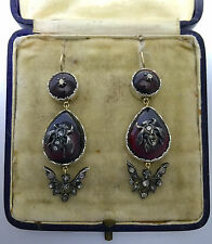 A Stunning Pair Of Cabochon Garnet & Rose Cut Diamond Fly Earrings Circa 1800's